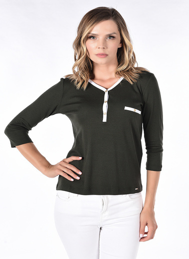 Optique Knitwear Düz Polo Yaka Uzun Kol Penye Bluz Haki